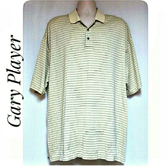 Gary Player Other - Men's Polo Shirt Pale Yellow with Stripes Size 1X